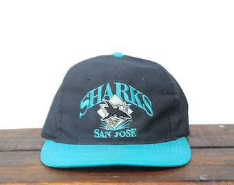 18f9b283d25 Vintage 90 s San Jose Sharks Hockey NHL Snapback Hat Baseball Cap
