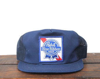 5101be379b2 Vintage Pabst Blue Ribbon PBR Cheap Beer Snapback Trucker Hat Baseball Cap  Patch Made In USA