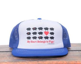 ffee17e07b6e6 Vintage My Heart Is In Pigs Hogs Bacon Farmer Breeder Trucker Hat Snapback Baseball  Cap