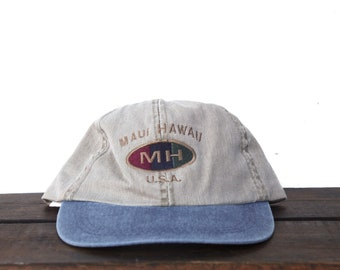 Vintage 90 s Hat Cap Washed Out Minimal Maui Hawaii Tropical Island Beach  Unstructured Strapback Hat Baseball Cap 6fd3fd9aa041