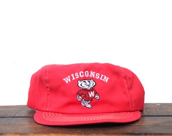 97fa4d90fe4463 Vintage Wisconsin Badgers NCAA College Football Snapback Trucker Hat  Baseball Cap USA Made