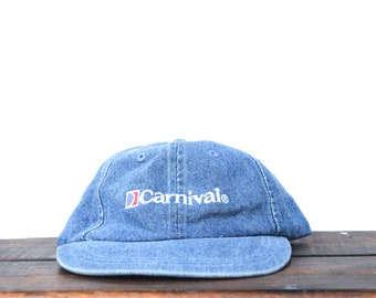 397e9b9bb70f4 Vintage 90 s Denim Carnival Cruise Lines The Fun Ships Unstructured  Strapback Dad Hat Baseball Cap
