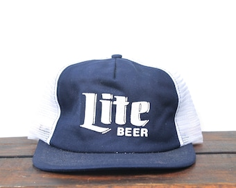 0b69c1f7122e6 Vintage 80 s Blue Miller Lite Beer High Life Drinking Trucker Hat Snapback Baseball  Cap Made In USA
