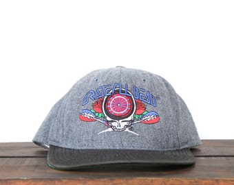 924cf0ae97822 Vintage 90's Wool Snapback Hat Baseball Cap Grateful Dead Steal Your Face  Jerry Garcia Jam Band Music Concert Show Darts Dartboard USA Made
