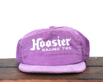 9915f745ebd78 Vintage Purple Corduroy Hoosier Racing Tires Hot Rod Drag Strip Snapback  Trucker Hat Baseball Cap