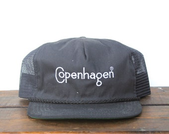 32d7e7632dc Vintage Trucker Hat Snapback Hat Baseball Cap Black Copenhagen Snuff  Chewing Tobacco Dip It Satisfies Made In USA