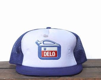 Vintage Trucker Hat Snapback Hat Baseball Cap Delo Motor Oil Chevron Gas  Station Jug 5e673c01d8d7