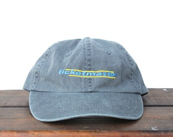 9d440a24b56a7 Vintage 90 s Minimal Washed Out Gray Ticketmaster Sports Concert Tickets Unstructured  Strapback Hat Baseball Cap