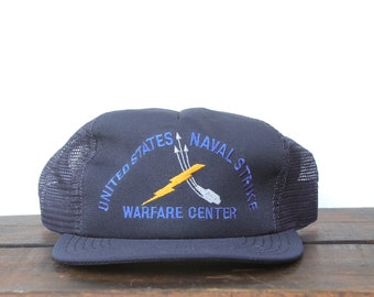 7f48526f791 Trucker Hat Vintage Snapback Hat Baseball Cap United States Naval Strike  Warfare Center Navy US Military Ship Veteran xrz