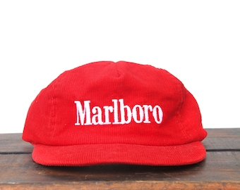 Vintage Red Corduroy Marlboro Cigarettes Tobacco Trucker Hat Snapback  Baseball Cap Made In USA 8cfde2f8370