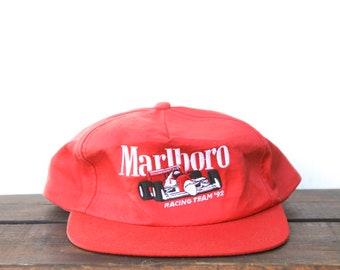 43b0f76e8e5 Vintage 90 s Distressed Faded Marlboro Cigarettes Tobacco Indy Car Racing  Team  92 Trucker Hat Snapback Baseball Cap