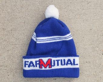 34c76b536ee Vintage Farm Mutual Crop Insurance Farmer Pom Beanie Knit Ski Warm Winter  Cuff Hat Cap Toque