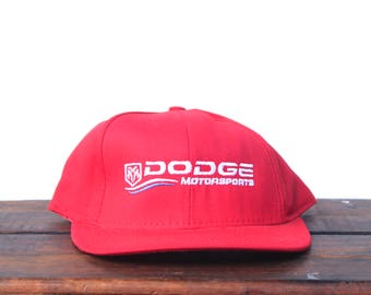 75f907eab12 Vintage 90 s Hat Cap Dodge Motorsports Mopar Racing Cars Nascar Snapback Hat  Baseball Cap Made In USA