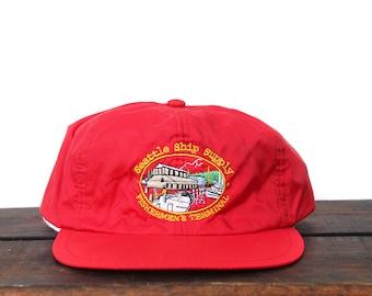 09b9b8c9438 Vintage Seattle Ship Supply Fisherman s Terminal Windbreaker Fabric  Unstructured Snapback Hat Baseball Cap