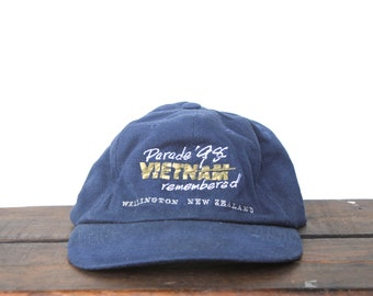 a3b38d98ede Vintage 90 s Vietnam Remebered Wellington New Zealand Veteran War  Unstructured Strapback Hat Baseball Cap xrz
