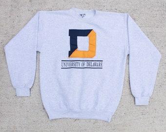482a85cb Vintage 90's University Of Delaware College Sports NCAA Oversize Boxy Crewneck  Sweatshirt Pullover Sweater Unisex Medium