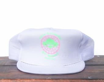 97de537a82e08 Vintage Trucker Hat Snapback Hat Baseball Cap Villa Alameda RV Resort  Motorhome Camper Neon Ink