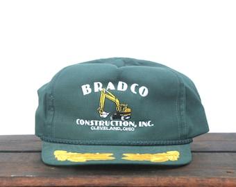 48b69d46bfe20 Trucker Hat Vintage Snapback Hat Baseball Cap Bradco Construction Excavator  Cleveland Captain Brim