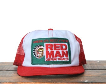 a562b8983a9 Vintage 80 s Red Man Chewing Tobacco Dip Snuff Trucker Hat Snapback  Baseball Cap Patch Made In USA