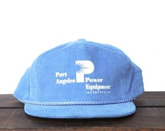 136d2cd335074 Vintage Port Angeles Power Equipment Power Tools Forestry Logging Corduroy Trucker  Hat Strapback Baseball Cap xrz