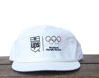 9067891027c Classic Vintage Brown UPS Parcel Service Shipping Packages Official Olympic  Games Sponsor Trucker Hat Strapback Baseball Cap