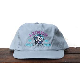 ccfa5490603cc Vintage 90 s Hat Cap Unstructured Snapback Hat Baseball Cap Lunde Golf Fest  1992 Cool Golf Ball Windbreaker Fabric