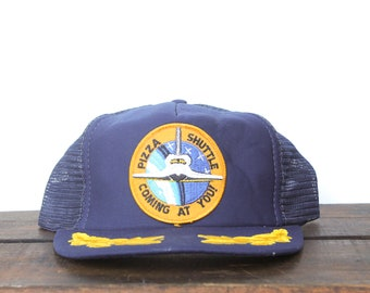 Vintage Pizza Shuttle Coming At You! NASA Space Shuttle Delivery Captain  Brim Snapback Trucker Hat Baseball Cap Patch e7d112c888bb