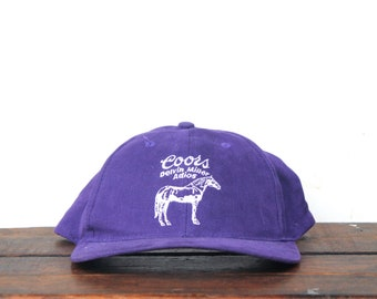 4c6d31cd39122 Vintage 90's Coors Beer Delvin Miller Adios Horse Race Purple Snapback Hat  Baseball Cap