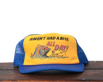a05fb2a520a Trucker Hat Vintage Snapback Hat Baseball Cap Haven t Had A Bite All Day  Big Scary Fish Angler Fishing Humor Novelty Joke Funny