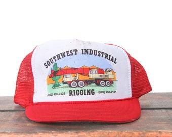 049637b4ae984 Vintage Trucker Hat Snapback Hat Baseball Cap Southwest Crane   Rigging  Cactus Desert Construction Building xrz