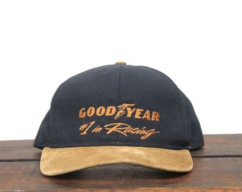 Vintage 90 s Snapback Hat Baseball Cap Goodyear Tires Car  1 In Racing  Leather Suede Brim Made In USA 761f791256a9