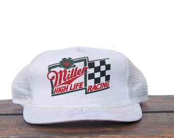 db41fb762f702 Vintage Trucker Hat Snapback Hat Baseball Cap Miller High Life Racing Team Beer  Lite