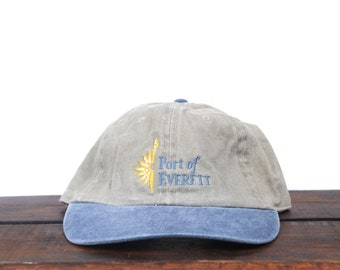 f68b33c372f Vintage 90 s Washed Out Port Of Everett Washington Pacific Northwest  Minimal Unstructured Strapback Hat Baseball Cap pxq