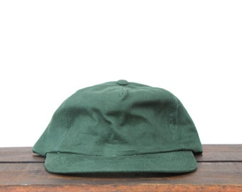 7d0bc66b63e76d Vintage 90's Hat Cap Minimal Blank Forest Green Unstructured Strapback Hat  Baseball Cap