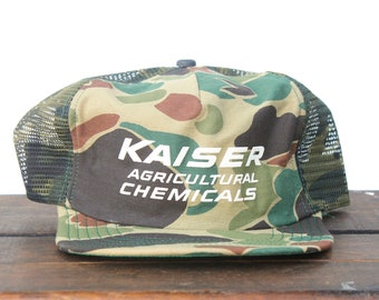 209c55cf3f0b3 Vintage Camo Trucker Hat Snapback Hat Baseball Cap Kaiser Agriculture Farm  Chemicals Camouflage Hunting Made In USA
