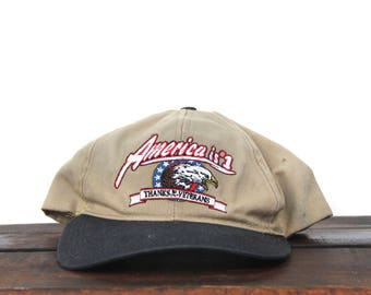 690d2014f5a Vintage 90 s Hat Cap Strapback Baseball Cap Distressed America Is  1 Thanks  To Our Veterans Military Eagle Flag