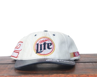 8241040dcb9b9 Vintage 90 s 100% Leather Miller Lite Beer Nascar Racing Rusty Wallace  Strapback Hat Baseball Cap