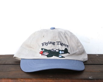 a993744ce Vintage 90's Flying Tigers Fighter Pilot Plane Air Force Pacific War WWII  Military Unstructured Strapback Hat Baseball Cap