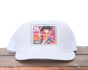 Vintage Elvis Presley Postage Stamp USPS Rock N Roll Trucker Hat Snapback  Baseball Cap adfb82a27011