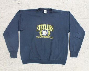 a0220a25c Vintage 90 s Logo 7 Pittsburgh Steelers Football NFL Crewneck Sweatshirt  Pullover Sweater Unisex Large XL