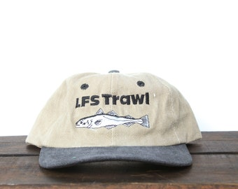 7611ba30baadf Vintage 90 s Washed Out LFS Trawl Fishing Boat Seafood Sifter Unstructured  Strapback Hat Baseball Cap