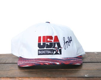 Vintage 90's 1992 Olympics Dream Team USA Basketball Larry Bird Boston Celtics 7 Snapback Hat Baseball Cap