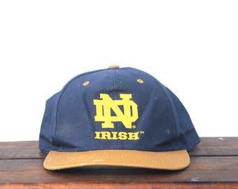 Vintage 90's Hat Cap University Of Notre Dame Fighting Irish UND Snapback Hat Baseball Cap
