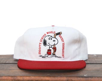 Vintage Snoopy's Senior World Hockey Tournament Peanuts Snapback Hat Baseball Cap
