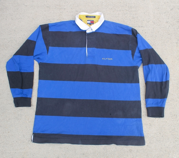 16b7d5c3f Vintage Long Sleeve Pullover Polo Rugby Tommy Hilfiger Basic Bold Stripe  Long Sleeve Shirt Large