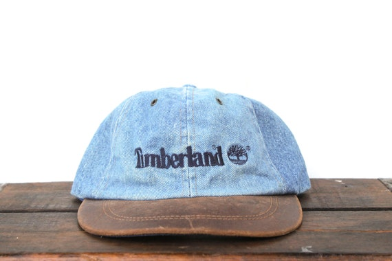 c59831469c4d4 timberland logo fading Vintage 90 s Timberland Boots Denim   Leather  Unstructured