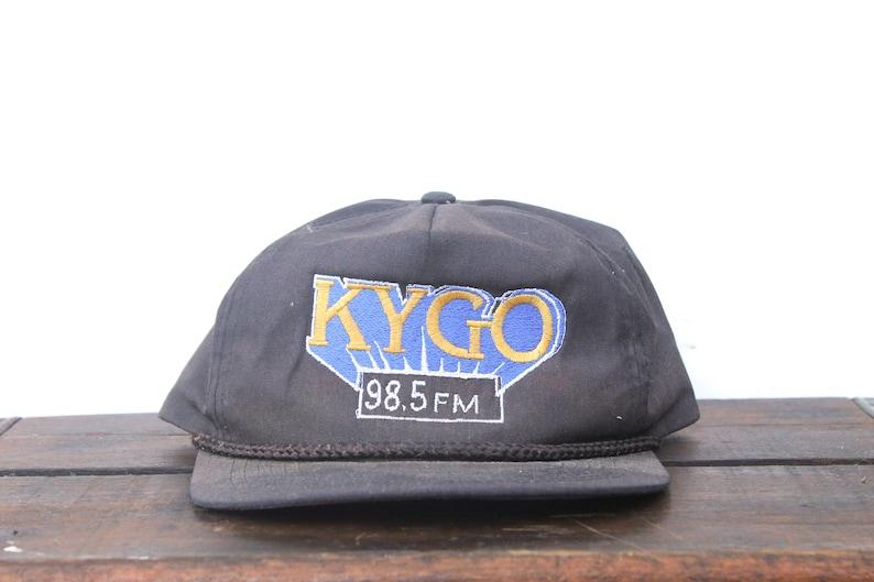 cab07cfd3 Distressed Trucker Hat Vintage Strapback Hat Baseball Cap 98.5 FM KYGO  Music Radio Station xrz