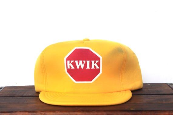Vintage Trucker Hat Snapback Hat Baseball Cap Kwik Stop Sign  e75e6e82c643