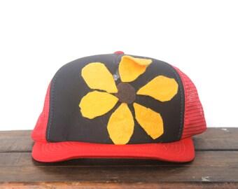 Vintage Trucker Hat Snapback Hat Baseball Cap Homemade Felt Flower Blackeyed Susan Craft
