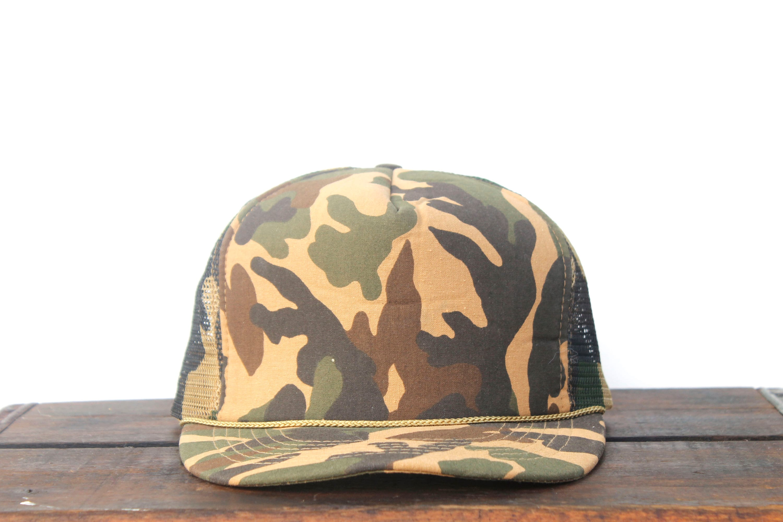 Vintage Blank Camo Camouflage Hunting Trucker Hat Snapback  e39bd184457